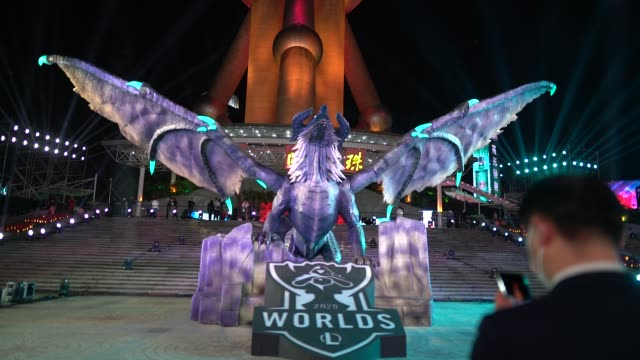 a giant model dragon named 'elder dragon' by league of legends is seen at oriental pearl tower on october 24 2020 in shanghai china - oriental pearl tower shanghai stock videos & royalty-free footage
