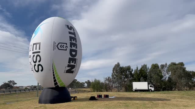 giant nrl ball is seen outside the mcdonalds park stadium during the round nine nrl match between the canberra raiders and the newcastle knights, on... - ball stock videos & royalty-free footage