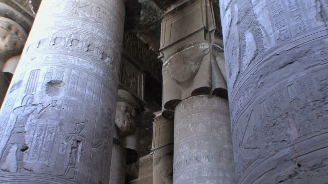 ms td giant pillars in pronaos in temple of dendera, qena, egypt - hieroglyph stock videos & royalty-free footage