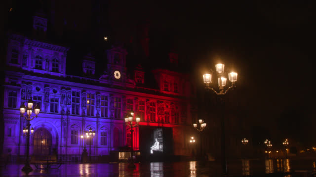 giant screen with photos of jacques chirac in front of the city hall of paris. on september 27, 2019. jacques chirac, who passed away on thursday at... - town hall government building stock videos & royalty-free footage