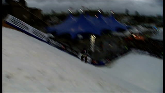 giant ski jump built at battersea power station england london battersea ext various of snowboarders performing stunts ski slope on artificial snow... - バタシー発電所点の映像素材/bロール