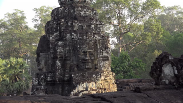 giant stone face tower of bayon temple - male likeness stock videos & royalty-free footage