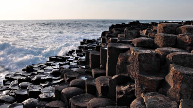 giant's causeway in northern ireland - rock formation stock videos & royalty-free footage