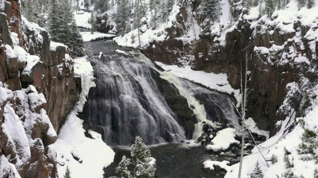 gibbon river waterfall, yellowstone national park, winter - yellowstone river stock videos and b-roll footage