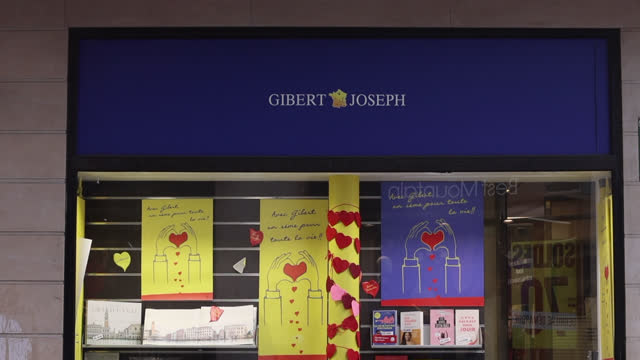 gibert joseph bookstore, 26 bouvelard saint michel in paris - literature stock videos & royalty-free footage