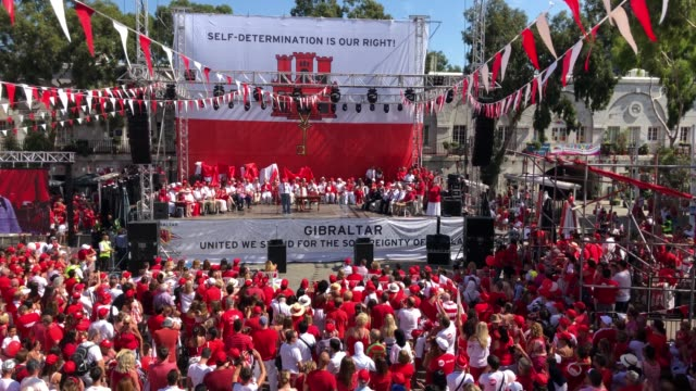 gibraltarians gather for a political rally in grand casements square held to mark gibraltar national day on september 10 2018 in gibraltar gibraltar... - southern european stock videos & royalty-free footage