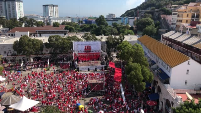 Gibraltarians gather for a political rally in Grand Casements Square held to mark Gibraltar National Day on September 10 2018 in Gibraltar Gibraltar...