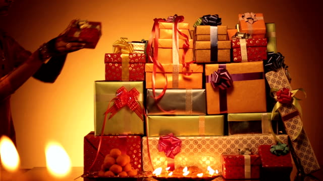 gift arrangement in diwali - large group of objects stock videos & royalty-free footage
