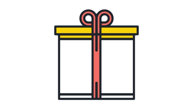 gift box ideas flat line icon animation with alpha - gift box stock videos & royalty-free footage