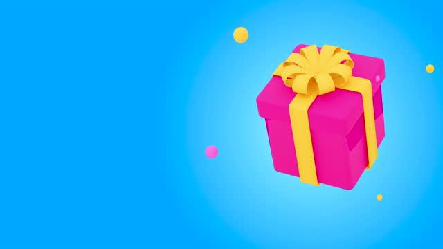 vídeos de stock e filmes b-roll de gift box looping with alpha channel matte for composition. - aniversário especial