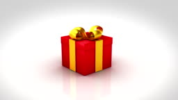 Gift box opening. 3 colors. Alpha matte and tracking points.
