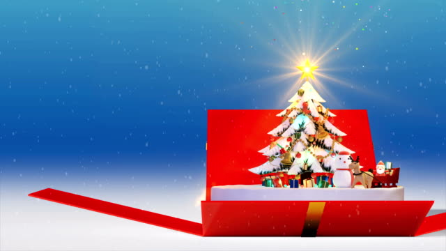 gift box opening christmas tree background, decorated xmas tree with gift boxes and santa claus happy and deers, animated abstract christmas present greeting post card, 4k loop - christmas present stock videos and b-roll footage