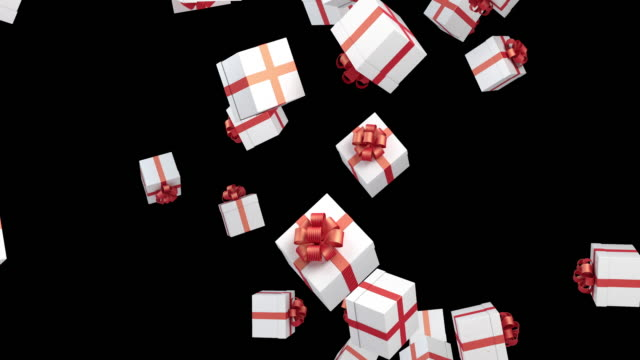 gift boxes are falling on black background - christmas gift stock videos & royalty-free footage