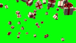 Gift Boxes Falling from the Sky on a Green Screen