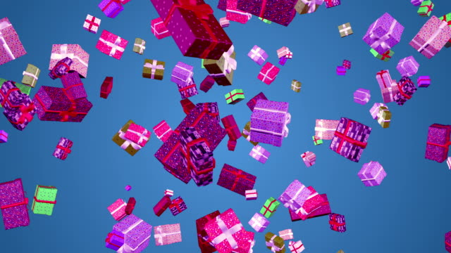 gift boxes falling loop animation cyan-blue background - gift box stock videos & royalty-free footage