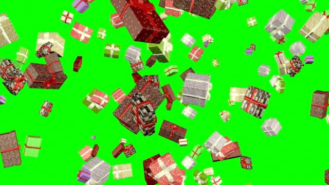 vídeos y material grabado en eventos de stock de cajas de regalo falling loop animación pantalla verde - regalo de navidad