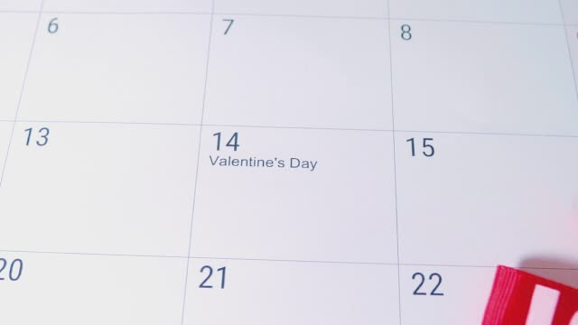 Gift heart for Valentines Day on Calendar