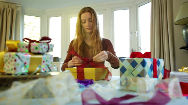 gift wrapping    ch - birthday gift stock videos & royalty-free footage