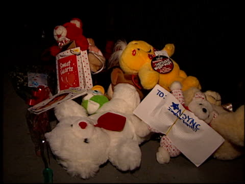 gift/gifts at the 'n sync concert at universal amphitheatre in universal city california on january 5 1999 - n sync stock-videos und b-roll-filmmaterial