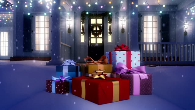 gifts in front of the door. three animations. loop. - door stock videos & royalty-free footage
