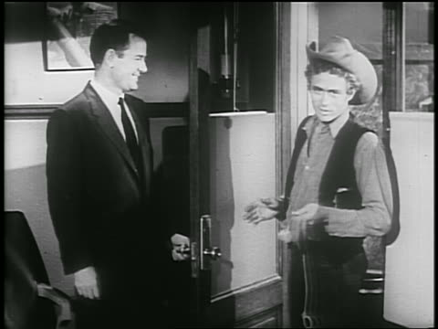 gig young + james dean stand by doorway / james dean talks to camera + exits / psa - 1955 stock videos & royalty-free footage
