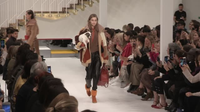 gigi hadid and bella hadid grace elizabeth vittoria ceretti their fellow models and designer on the runway for the tod's ready to wear fall winter... - grace elizabeth stock videos & royalty-free footage