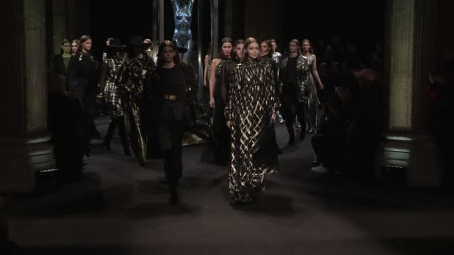 gigi hadid and bella hadid kaia gerber grace elizabeth joan smalls vittoria ceretti their fellow models and designer on the runway for the alberta... - joan smalls stock videos & royalty-free footage
