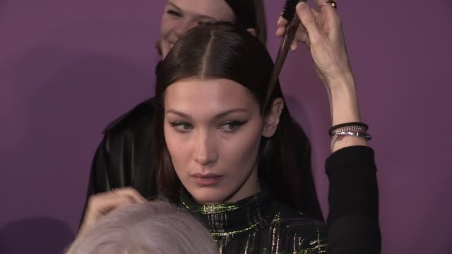 gigi hadid and bella hadid kaia gerber joan smalls their fellow models and more backstage before the alberta ferretti ready to wear fall winter 2018... - joan smalls stock videos & royalty-free footage