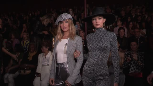 gigi hadid and bella hadid pose front row at tommynow tommy x zendaya spring summer 2020 fashion show in new york city new york city ny usa on sunday... - tommy hilfiger designer label stock videos and b-roll footage