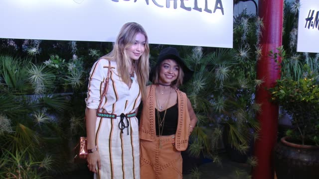 gigi hadid and sarah hyland at official hm loves coachella party at the parker palm springs on april 10 2015 in palm springs california - sarah parker stock videos & royalty-free footage
