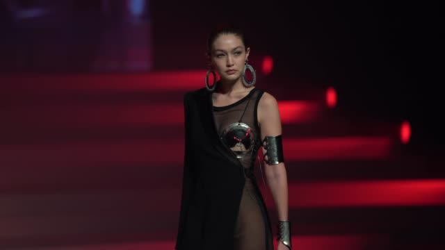 gigi hadid at paris fashion week haute couture spring/summer 2020 jean paul gaultier on january 22 2020 in paris france - design stock videos & royalty-free footage