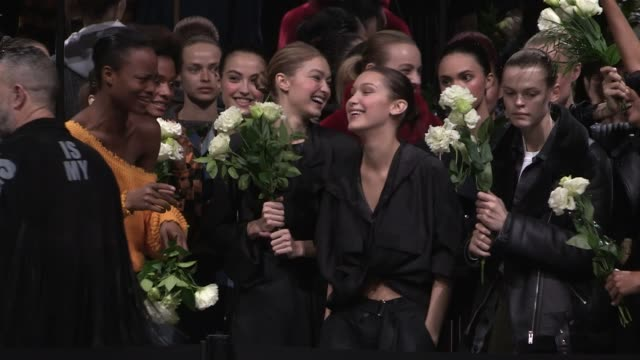 Gigi Hadid Bella Hadid Ashley Graham and more Models getting ready backstage before the runway for the Prabal Gurung ready to wear Fall Winter 2018...