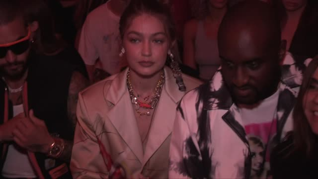 gigi hadid carine roitfeld virgil abloh j balvin and more front row before the heron preston menswear spring summer 2020 fashion show in paris... - paris fashion week stock videos & royalty-free footage