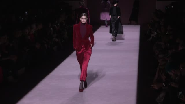 Gigi Hadid Joan Smalls models and designer Tom Ford on the runway fo the Tom Ford Ready To Wear Fall Winter 2019 Fashion Show in New York City New...