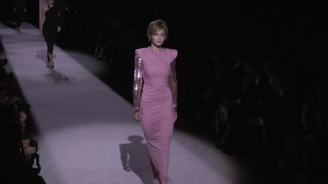 gigi hadid kendall jenner joan smalls designer tom ford and more on the runway for the tom ford ready to wear spring summer 2018 fashion show in new... - joan smalls stock videos & royalty-free footage