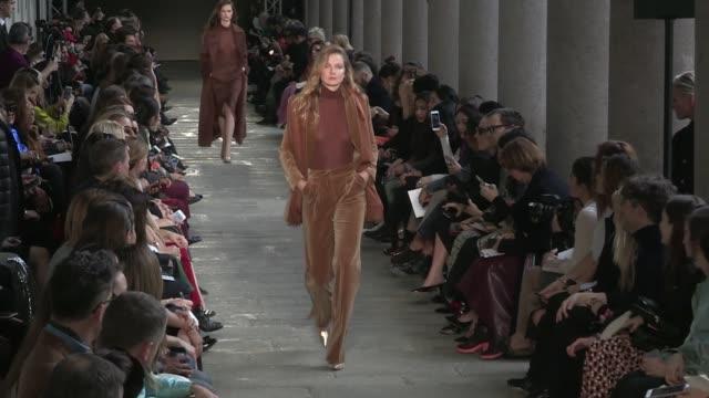 Gigi Hadid Lily Donaldson Isabeli Fontana Natasha Poly Halima Aden Elsa Hosk and more models on the runway for the Max Mara Ready To Wear fall winter...