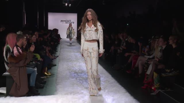 gigi hadid walks the runway at jeremy scott february 2017 new york fashion week at skylight clarkson sq on february 10 2017 in new york city - gigi hadid stock videos & royalty-free footage
