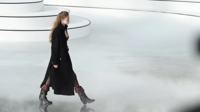 gigi hadid walks the runway during the chanel as part of the paris fashion week womenswear fall/winter 2020/2021 on march 03 2020 in paris france - gif stock videos & royalty-free footage