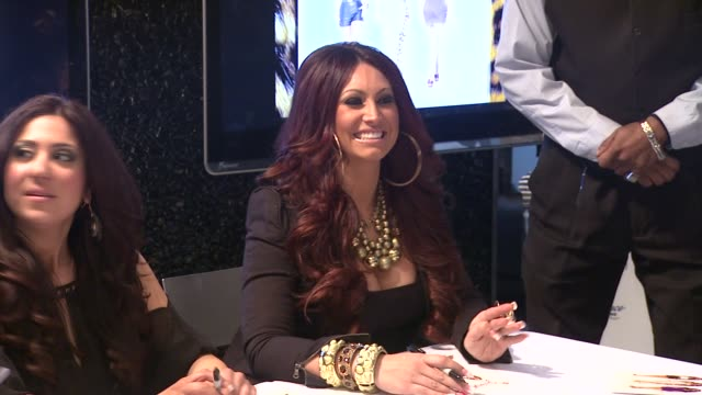 gigi liscio and tracy dimarco at 'jerseylicious' cast meet greet on 3/7/2012 in new york ny united states - meet and greet stock videos and b-roll footage
