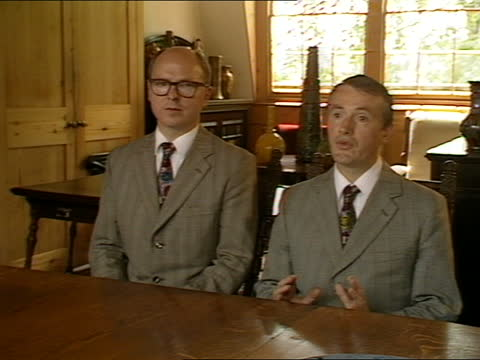 gilbert & george interview; england: london: near spitalfields market: int gilbert and george interview sot. q - is personal belief important to your... - plain stock videos & royalty-free footage