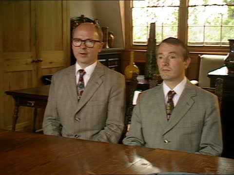 gilbert & george interview; england: london: near spitalfields market: int gilbert and george interview sot. q - what problem do critics have with... - abstract stock videos & royalty-free footage