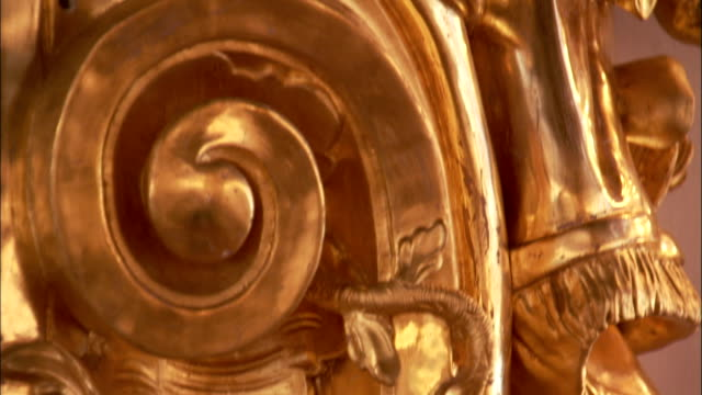 a gilded carving depicts a nymph in the great hall in catherine palace. - gilded stock videos & royalty-free footage