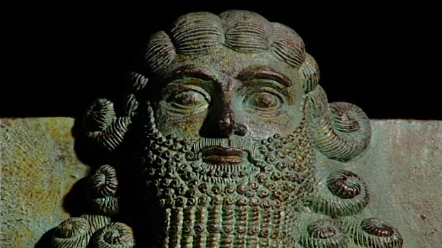 gilgamesh sculpture cu on stone relief showing head - antique stock videos & royalty-free footage