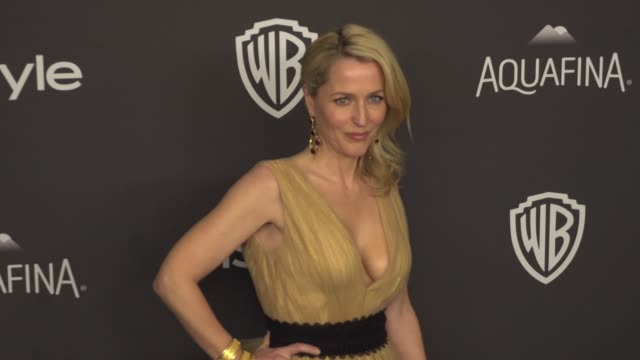 gillian anderson at the 17th annual instyle and warner bros pictures golden globe afterparty at the beverly hilton hotel on january 10 2016 in... - gillian anderson stock videos & royalty-free footage