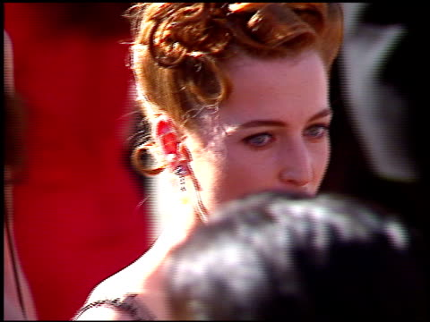 gillian anderson at the 1996 emmy awards arrivals at the pasadena civic auditorium in pasadena, california on september 8, 1996. - pasadena civic auditorium stock videos & royalty-free footage