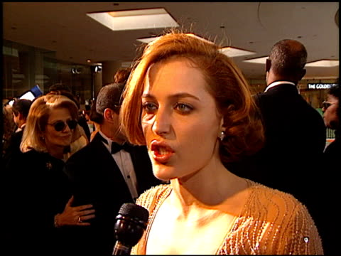 gillian anderson at the 1997 golden globe awards at the beverly hilton in beverly hills california on january 19 1997 - gillian anderson stock videos & royalty-free footage