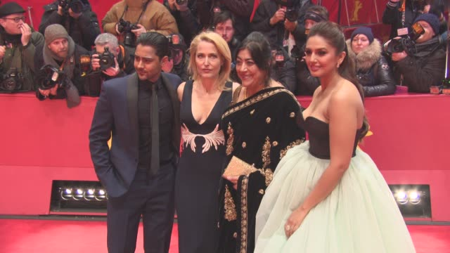 Gillian Anderson Hugh Bonneville Manish Dayal Simon Callow Huma Qureshi Gurinder Chadha at Berlin Film Festival 'Viceroy's House' Red Carpet at...