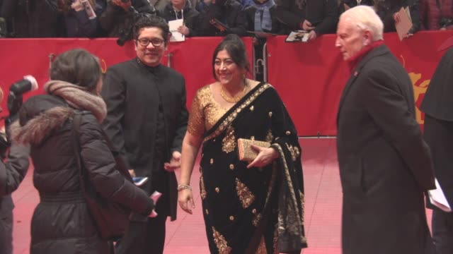 CLEAN Gillian Anderson Hugh Bonneville Manish Dayal Simon Callow Huma Qureshi Gurinder Chadha at Berlin Film Festival 'Viceroy's House' Red Carpet at...