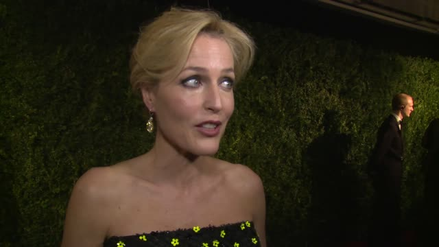 interview gillian anderson on acting the future and 50 shades of grey on xx at 60th london evening standard theatre awards 2014 on 30th november 2014... - gillian anderson stock videos & royalty-free footage