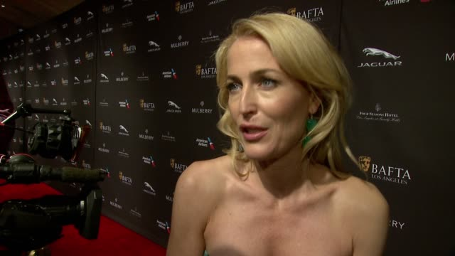 gillian anderson on being a part of bafta, on being at the event, on what makes the bafta tea party one of the most prestigious events of the... - golden globe awards stock videos & royalty-free footage